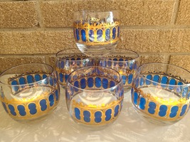Vintage MCM 6pc CULVER Lowball Glasses in Cobalt and Gold image 2