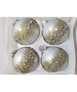 """Christmas Bella Lux Silver Gold Glitter 4.5"""" Glass Ornaments Set of 4 - $29.99"""