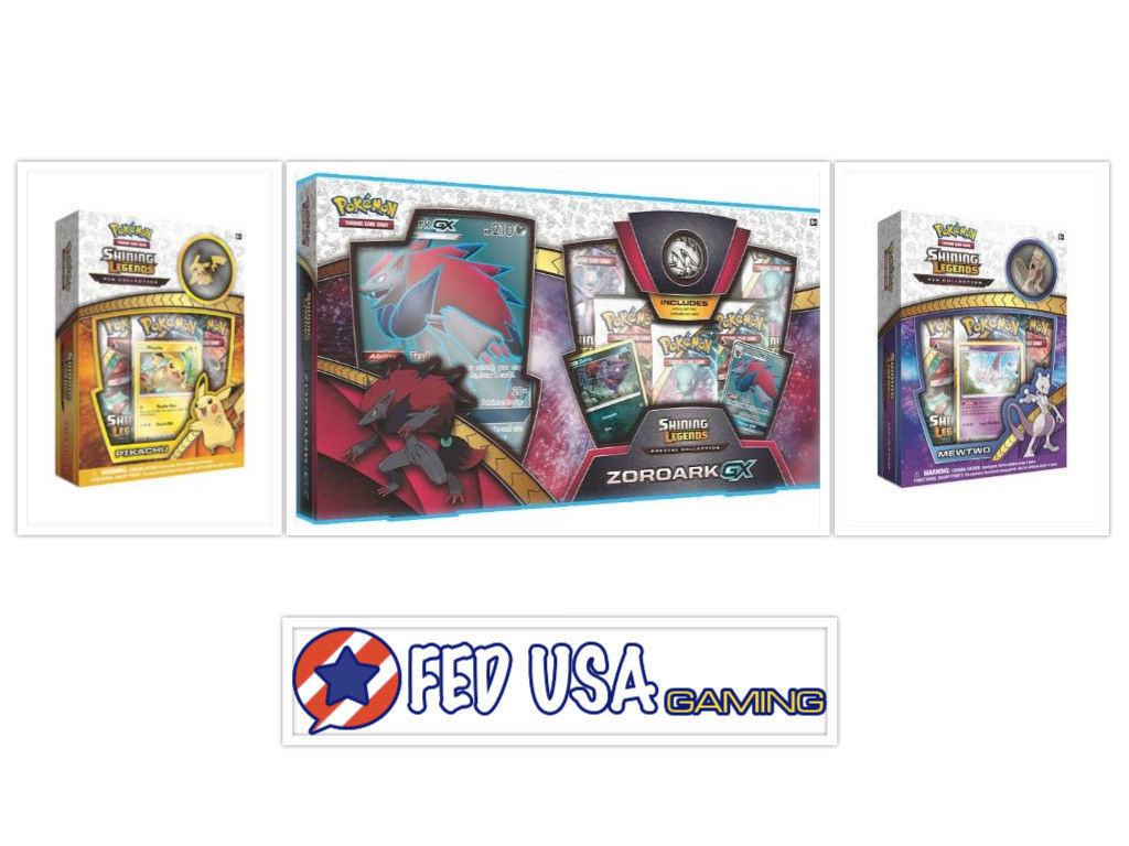 Pokemon Shining Legends Zoroark GX Collection Box + Mewtwo & Pikachu Pin Bundle