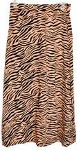 Sans Souci Women's Orange & Black Tiger Animal Print Slit Midi Skirt Size S