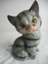 Vintage Ceramic Kitten Cat Grey Black Tiger Stripe Figurine - $24.74