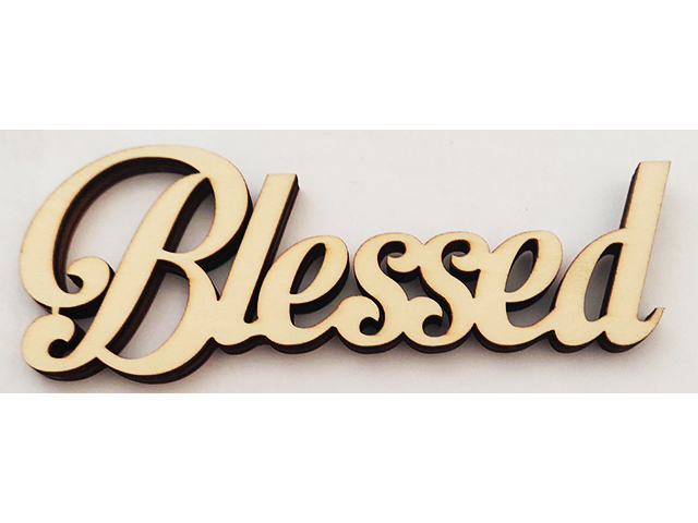 """Unfinished Wooden """"Blessed"""" Sign #1451582"""