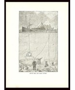 Divers 1886 Antique Print Illustration Diving Bells Coral Divers Helmet - $14.99