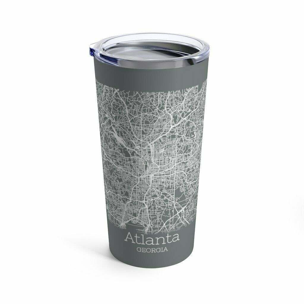 Primary image for Atlanta Map Gray Vacuum Insulated Stainless Steel Tumbler 20 Ounce with Lid