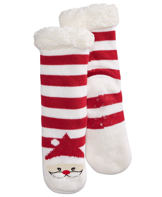 23a79f71f Charter Club Holiday Fleece Gripper Slipper Socks Red Striped Santa