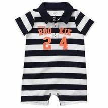 """Boys Carter's Romper Polo Shortall Onepiece """"Mommys Rookie 24"""" 6M Stripe... - $6.99"""