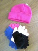 #. GIRLS BEANIE HAT & 4 PAIRS GLOVES ONE SIZE NWT - $10.00