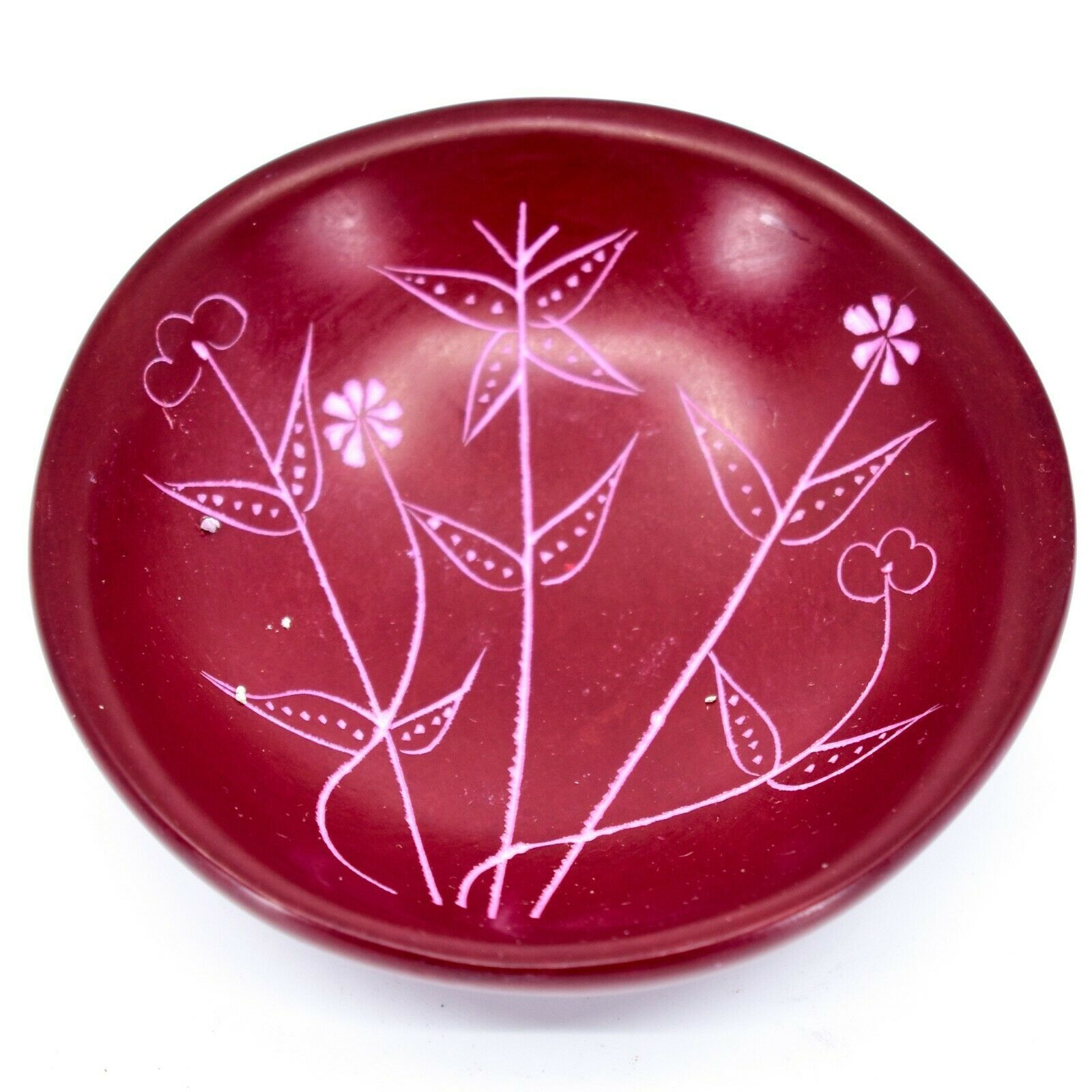 Tabaka Chigware Hand Carved Kisii Soapstone Red Spring Flower Trinket Bowl Kenya