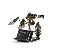 Sugarpost Scrap Metal Art Gnome Be Gone Mini Desk Diver Business Card Ho... - €59,58 EUR