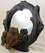 Pair of Owls Looking Into Mirror Figurine Tree Branch - $49.49