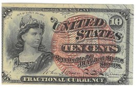 1863 10 Cents 4th Issue Fractional Currency - $93.50
