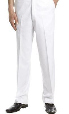 TM Exposure Men's Slim Fit Dress Pants Slacks Flat Front White Slacks w/ Defect