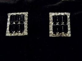 Vintage Square Black Gem Diamond Gem Clip On Earrings Costume Fashion Je... - $10.66