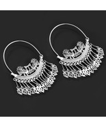 Large Cut Work Hoops Handmade in Sterling Silver, Traditional Bridal Ear... - $99.00