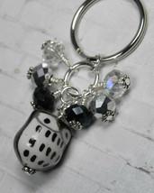 Black Owl Cluster Keychain Ceramic Crystal Beaded Handmade Split Key Rin... - $13.09