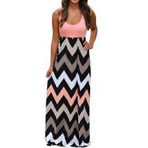 Womens Striped Long Boho Dress Lady Beach Summer Sundrss Maxi Dress Plus... - $23.99
