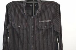 Harley Davidson Button Front LS Shirt Men's M Cotton Black/Stripes - $27.99