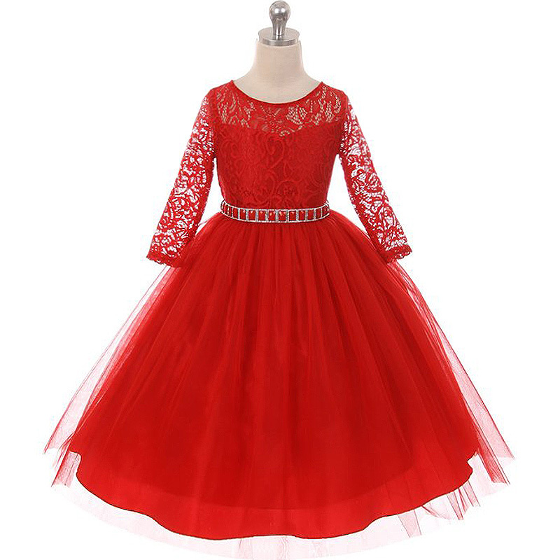 Champagne Long Sleeve Stretchy Lace Bodice Tulle Skirt with Belt Flower Dress