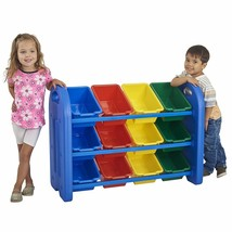 Kids Toys Organizer Colored 12 Bins 3 Tier Shelf Container Rack Holder S... - $83.15