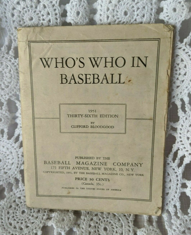 1951 MLB Who's Who in Baseball Clifford Bloodgood Stats Di Maggio Jack Robinson - $13.53