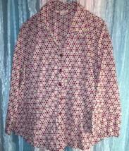 womens 14 Jacquard geometric print button down shirt JM COLLECTION macys - $13.99
