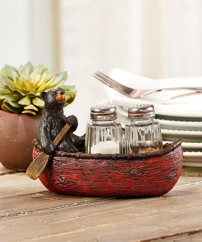 Black Bear in Canoe w Paddle Design Salt & Pepper Set of 2 Glass Shakers Resin