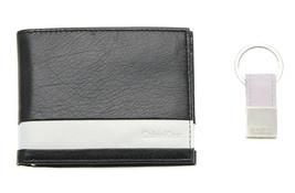 Calvin Klein Ck Men's Leather Bifold Id Wallet Key Chain Set Black White 79512