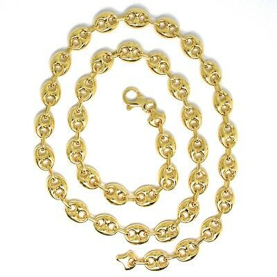 18K YELLOW GOLD MARINER CHAIN BIG OVALS 10 MM, 20 INCHES ANCHOR ROUNDED NECKLACE