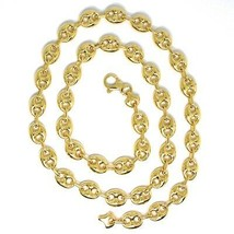 18K YELLOW GOLD MARINER CHAIN BIG OVALS 10 MM, 20 INCHES ANCHOR ROUNDED NECKLACE image 2