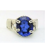 Blue Sapphire Silver Wire Wrap Ring Sz. 8 - $36.00