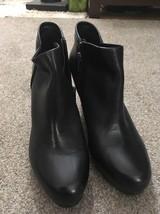"""Women's Clarks Artisan Black Zip Leather 3.5"""" Heel Booties, Size 10M - $29.99"""