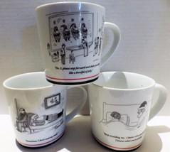 (3) New Yorker Mugs Santa Clause Cartoons Christmas - $22.72