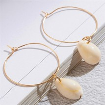 Minimalist Golden Round with Shell Dangle Drop Earrings for Women Female 2020 Tr - $6.56