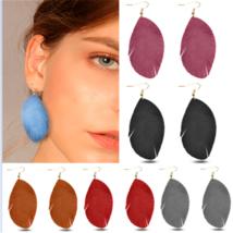 New Women Leaf Shape Handmade Leather Long Hook Dangle Earrings Jewelry ... - $5.70