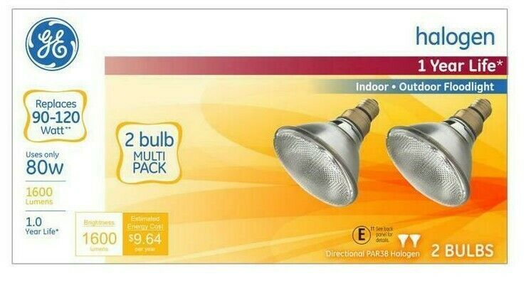 66282 Halogen Flood Light Bulbs, Par 38, Indoor/Outdoors, 80-Watts, 2-Pk