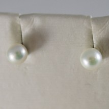 SOLID 18K WHITE OR YELLOW GOLD EARRINGS WITH PEARL PEARLS 5 MM, MADE IN ITALY image 1