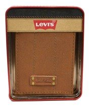 NEW LEVI'S MEN'S PREMIUM COATED LEATHER BILLFOLD CREDIT CARD WALLET TAN 31LV2216
