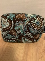 Gently Used! Vera Bradley Medium Brown Floral Toiletry/Makeup Bag -Free Shipping - $14.84