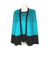 Megan Lee Knit Faux Twin Set Sweater Top Women Size 10 Blue-Green Black ... - $17.81