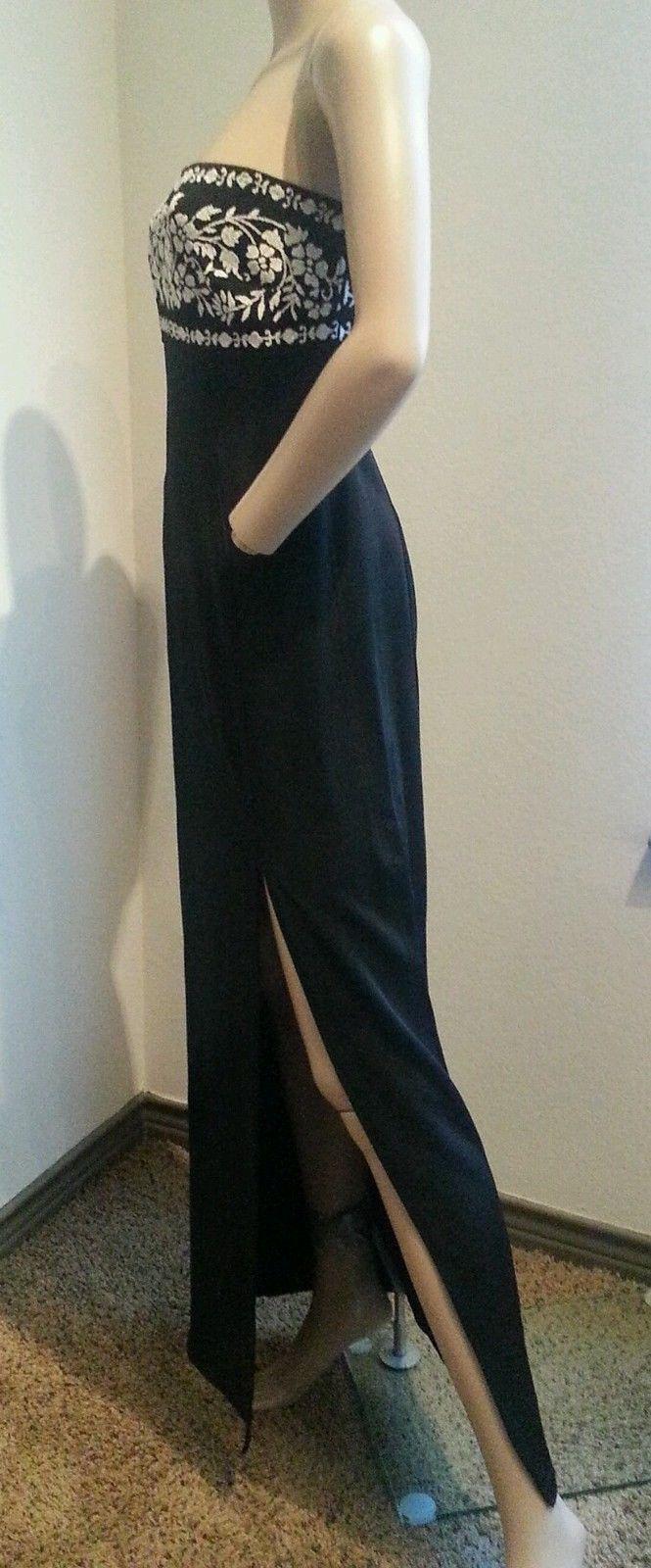 Vtg 90's Tadashi Black White Floral Beaded Cutout Bodycon Maxi Dress S