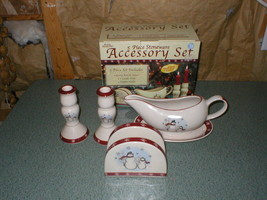 Discontinued Royal Seasons 5-Piece Stoneware Accessory Set Snowman Design - $18.99