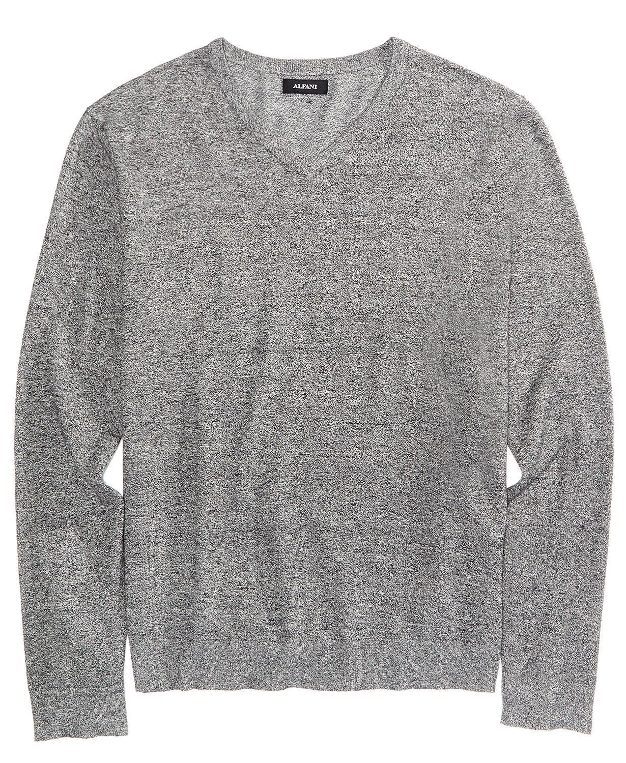 Alfani Men's V-Neck Sweater Zinc Heather Size X-Large
