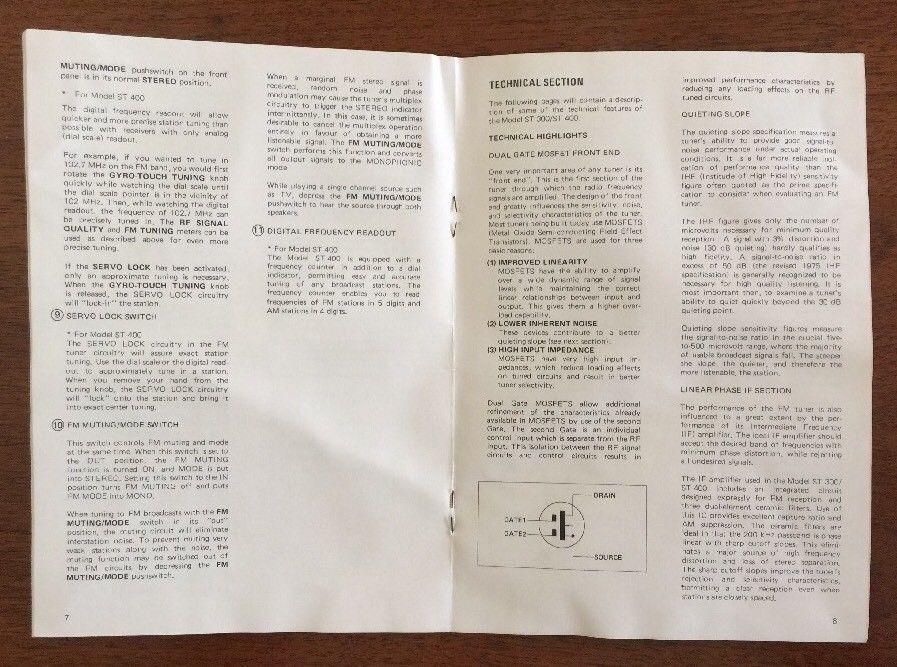 Marantz ST 400 Stereo Tuner Original Owners Manual w/Spec Sheet No Rips Writing