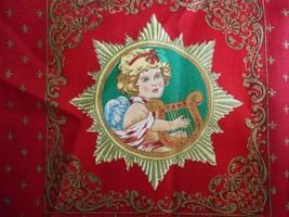 Vtg Cherub Angel Metallic Holiday Christmas Fabric Concord Fabrics Joan ... - $19.99