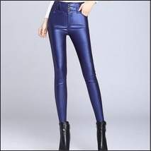 Blue Stretch Faux Leather High Waisted Button Up Skinny Pencil Trousers