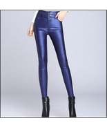 Blue Stretch Faux Leather High Waisted Button Up Skinny Pencil Trousers - $62.95