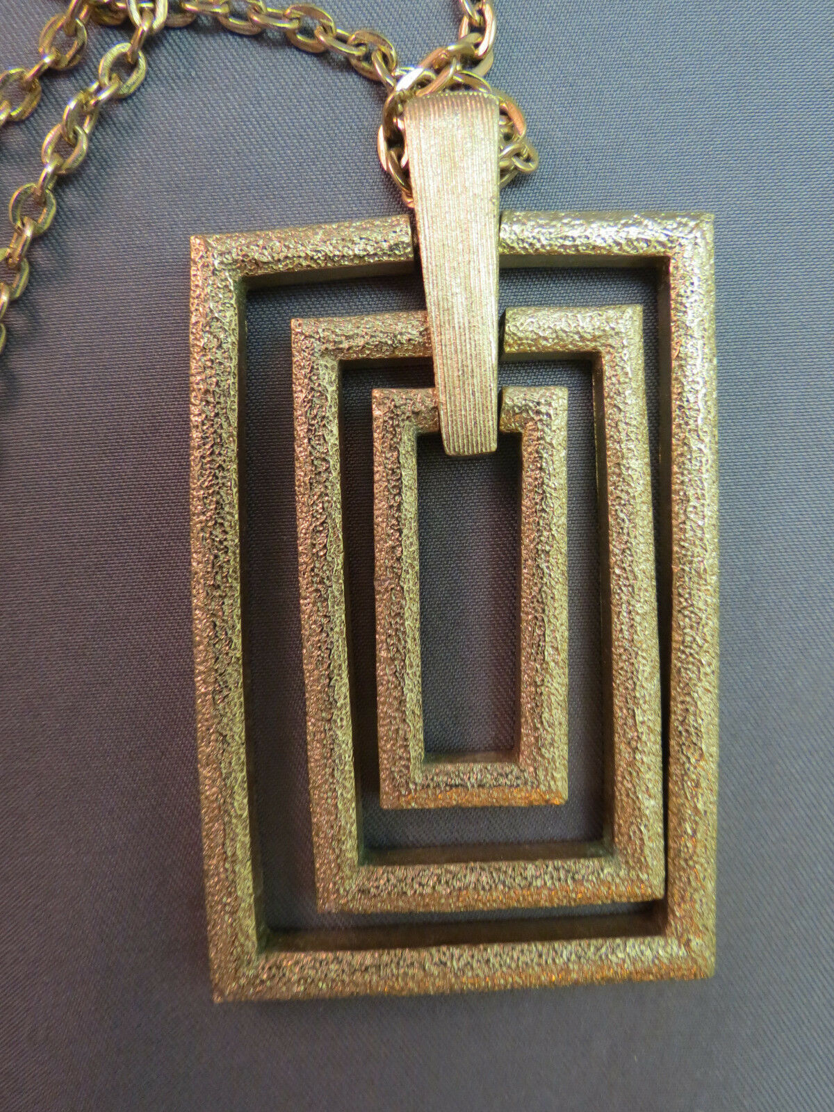 Couture Sarah Coventry Pendant Necklace Chain Rectangular Gold Plate Texture VTG