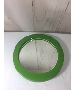 Retro Mid Century Modern Round Lime Green Mirror Made In Japan As Is - $78.21