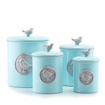 Blue Bird Medallion Canister Set 4 pc 1 - 4 quart powder blue stainless set - $68.99