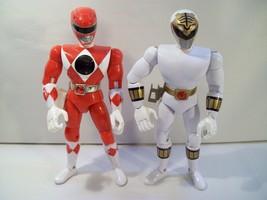 """2 Vintage Power Rangers 8"""" Action Figures White Ranger Red Ranger 1993 Bandai - $16.61"""